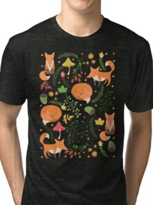 Foxes pattern Tri-blend T-Shirt