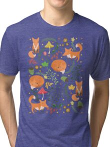 Foxes pattern Tri-blend T-Shirt