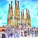 Sagrada Famila in Barcelona with Blue Sky by artshop77