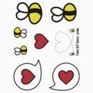 Lof Bees & Heart Bubbles - two lof bees by Josh Bush