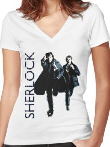 Sherlock Holmes and Doctor Watson! Women's Fitted V-Neck T-Shirt