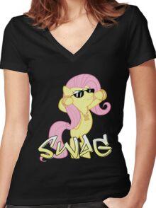 Flutter Swag Women's Fitted V-Neck T-Shirt