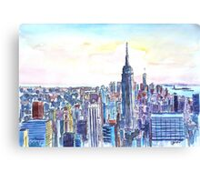 Panorama Of Manhattan Skyline With Brooklyn Canvas Print