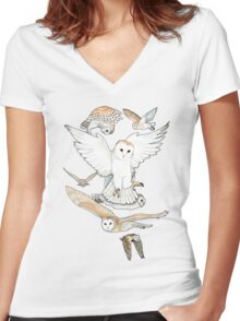 A Parliament of Owls Women's Fitted V-Neck T-Shirt