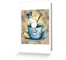 Tea Cup Mouse in Tophat Greeting Card