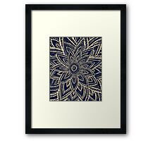 Cute Retro Gold abstract Flower Drawing on Black Framed Print