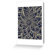 Cute Retro Gold abstract Flower Drawing on Black Greeting Card