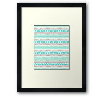 Trendy Mod Bright Teal Pink Abstract Aztec Pattern  Framed Print