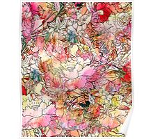 Colorful Watercolor Floral Pattern Abstract Sketch Poster