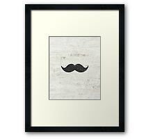 Vintage Funny Mustache White Retro Wood Framed Print