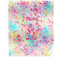 Girly neon Pink Teal Abstract Splatter Typography Poster