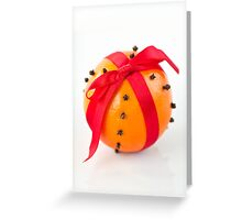 Orange with red ribbon Greeting Card