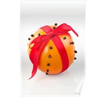 Orange with red ribbon Poster