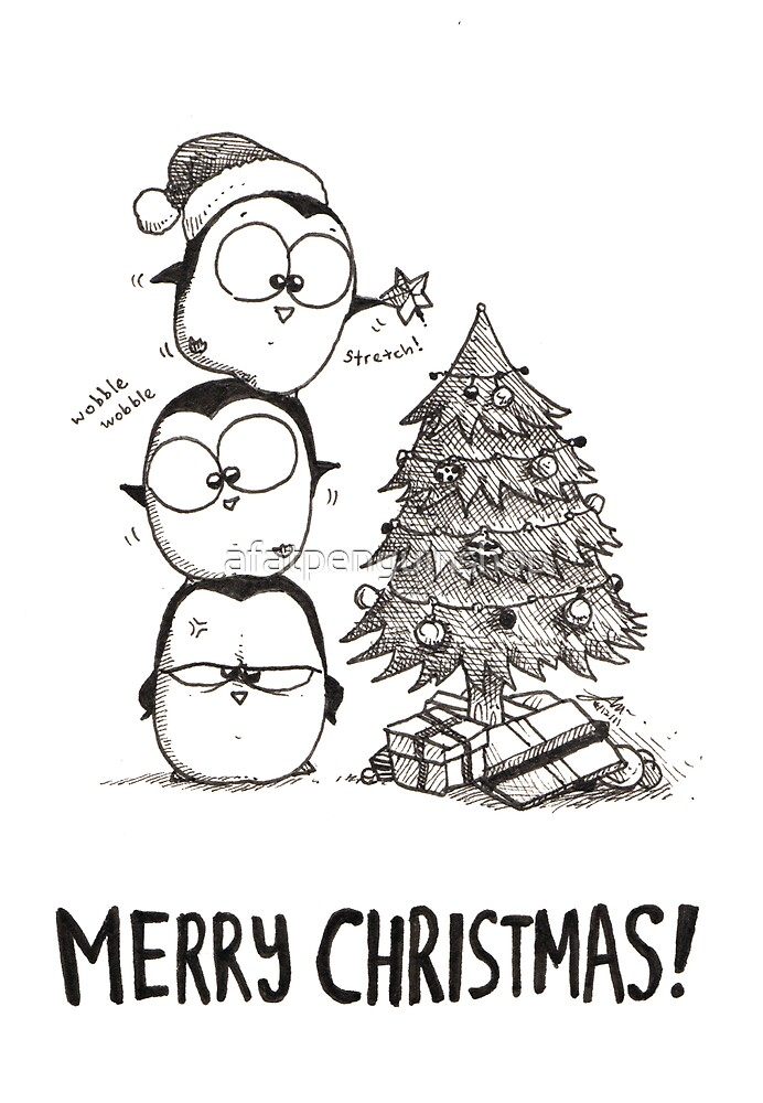 1 Christmas Tree, 3 Fat Penguins by afatpenguinshop