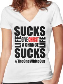 #Whiteout: Give Christ a Chance Women's Fitted V-Neck T-Shirt