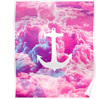 Girly Nautical Anchor Bright Pink Clouds Sky Poster