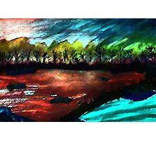 Down by the water, as day ends, watercolor Photographic Print