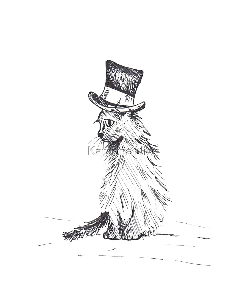Black Cat in Hat by Katarina Nice