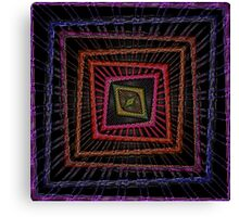 Kaleidoscopic Squares in multiple Colors on Black Background Canvas Print