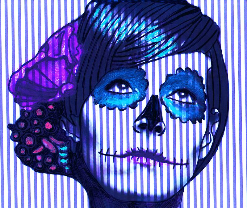 Skeleton Girl on Stripes  by ricardogarcia1