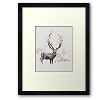 Art Illustration - Deer in the fog Framed Print