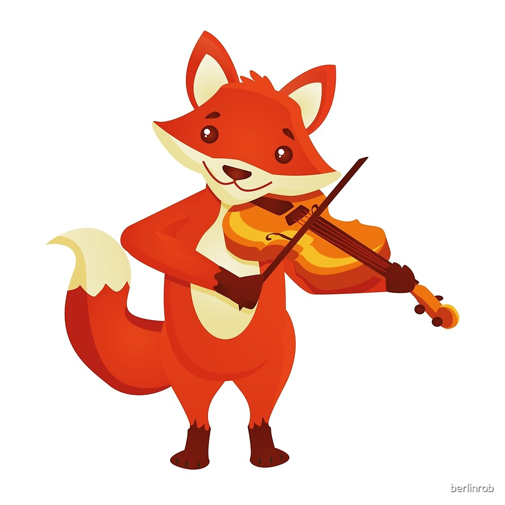 Quot Funny Fox Playing Music With Violin Quot By Berlinrob Redbubble
