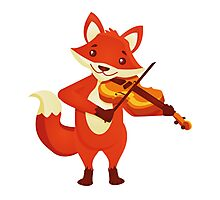 Funny fox playing music with violin Photographic Print