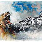 Africa - Lioness Roar, Zebra Flight by Pieter  Zaadstra