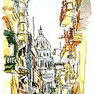 Havana Street View With Parliament Watercolor by artshop77