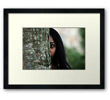 Girl Behind the Tree Framed Print