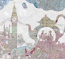 4 o'clock tea London Map by Paula Belle Flores