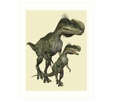 On The Hunt , Dinosaurs Art Print