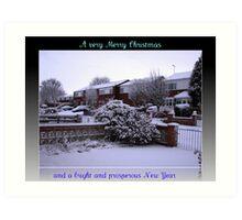 Virgin Snow Christmas and New Year Card Art Print
