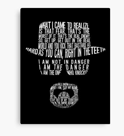 Breaking Bad - Walter White/Heisenberg Typography (White Print) Canvas Print