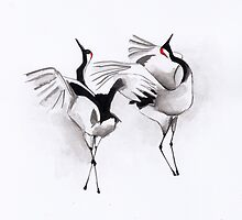 Illustration art - Japanese cranes mating ritual by Marikohandemade