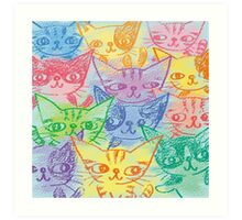 Chalk drawing of cats Art Print