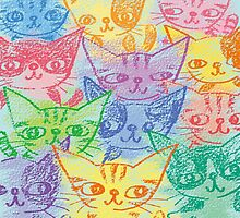 Chalk drawing of cats by Toru Sanogawa