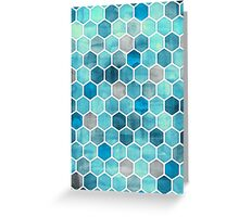 Blue Ink - Watercolor hexagon pattern Greeting Card