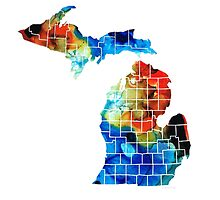 Michigan State Map - Counties By Sharon Cummings by Sharon Cummings