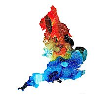 England - Map Of England By Sharon Cummings Photographic Print
