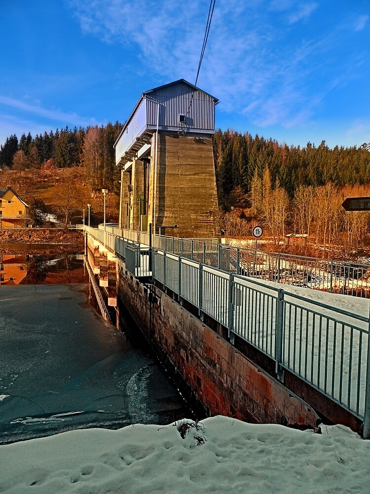 Hydropower station in winter wonderland   architectural photography by Patrick Jobst