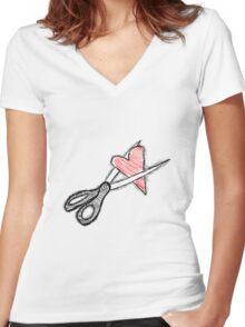 Scissors+heart= Women's Fitted V-Neck T-Shirt