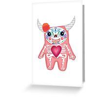 Pink Dia de los Muertos Monster  Greeting Card