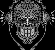 Gray and Black DJ Sugar Skull by Jeff Bartels