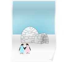 Pastel Penguins and Igloo Poster