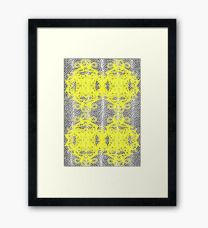 Vintage Inspired Yellow Black White Fancy Patterned Framed Print