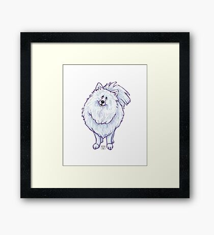 Animal Parade White Pomeranian Silhouette Framed Print
