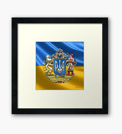 Ukraine: Proposed Greater Coat of Arms & Flag Framed Print
