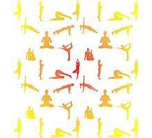 Yoga Positions In Gradient Colors Photographic Print