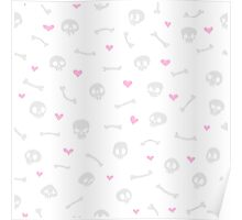 Cartoon Skulls with Hearts on White Background Seamless Pattern Poster